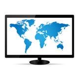World Map Illustration. On a LCD Monitor stock illustration