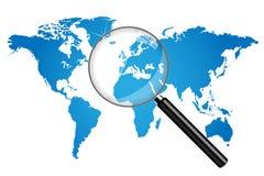 World Map Illustration. World map magnifying glass illustration royalty free illustration
