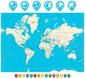 Blue world map borders countries and cities illustration stock world map illustration and map pointers royalty free stock photo gumiabroncs Choice Image