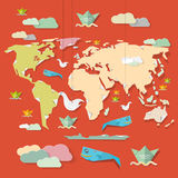 World Map Illustration on Red Background Royalty Free Stock Photo
