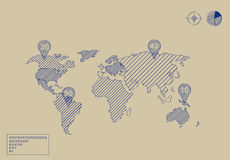 World map illustration scribble Stock Image