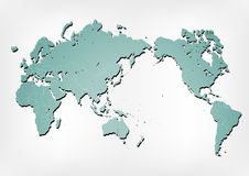 World map illustration with shadows. Stroked world map illustration with nation borders on a gradient background with a simple shadow Royalty Free Stock Photo