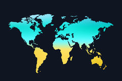 World map 01. Illustration of world map silhouette colored on dark background Royalty Free Stock Images