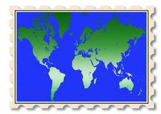 World map illustration on stamp Stock Images