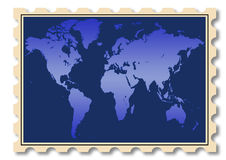 World map illustration on stamp Royalty Free Stock Image