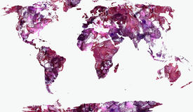 World Map Illustration. Illustration - World Map Textured Painting vector illustration