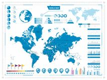 World Map and infograpchic elements. Mercator projection. Vector illustration royalty free illustration