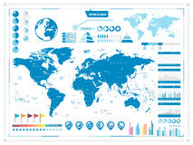World Map and infograpchic elements Royalty Free Stock Image
