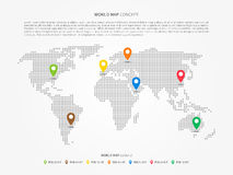 World map infographic with colorful pointers Royalty Free Stock Images