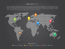 World map infographic with colorful pointers vector illustration Royalty Free Stock Image