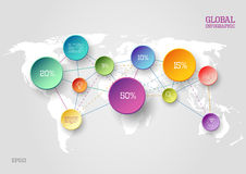 World map infographic concept. Vector world map infographic scheme with colorful circles and lines Royalty Free Stock Photography