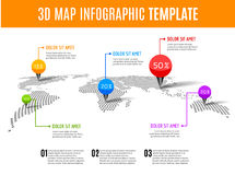 World map infographic. 3D map concept with percents and pins.  Vector Illustration