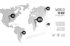 World map infographic. 3D map concept with percents and pins.  Stock Illustration