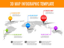World map infographic. 3D map concept with percents and pins Royalty Free Stock Photography