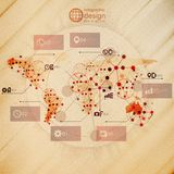 World map, infographic design illustration, wooden Stock Images