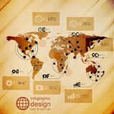 World map, infographic design illustration, wooden Stock Photos