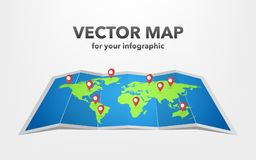 World map with infographic elements, vector illustration royalty free illustration