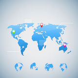 World map infographic with Globe icons Stock Image