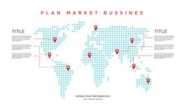 World map market business infographic. stock illustration