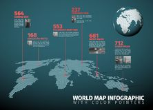 World map infographic with pointer marks Royalty Free Stock Photography
