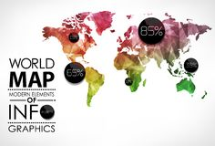 World map infographic template. All countries are selectable Royalty Free Stock Images