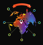 World map infographic template Royalty Free Stock Photos