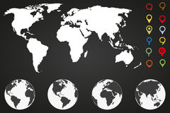 World map infographic template with different markers and four globe icons from different sides. World  map infographic template with different markers and four Royalty Free Stock Photos