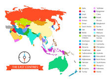 World map infographic template. The East countries Royalty Free Stock Photography
