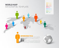 World map infographic template with figures Royalty Free Stock Photos