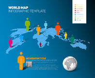 World map infographic template with figures Royalty Free Stock Images