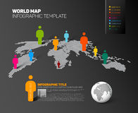 World map infographic template with figures Stock Images