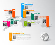 World map infographic template with photos Stock Photography