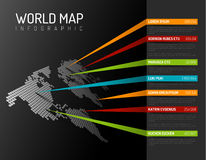 World map infographic template with pointer marks Stock Image