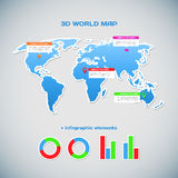 World map infographics. 3D world map infographics. Vector illustration for your design Royalty Free Stock Photography