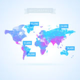 World map with infographics elements Stock Photo