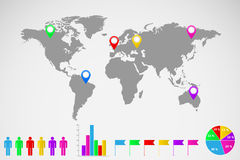 World map infographics illustration Royalty Free Stock Photos
