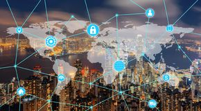 World map with infographics template, network connection lines, wifi, and smartphone icons on Hong Kong City downtown in. Futuristic digital technology in smart stock illustration