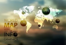 World Map and Information Graphics Stock Images