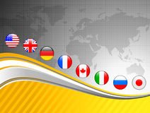World Map with Internet Flag Buttons Background Royalty Free Stock Photo