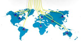 World map with internet multiple access. Points and cables Royalty Free Stock Image
