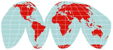 World Map - Interrupted Goode Projection Stock Photography