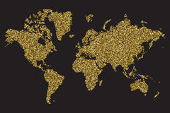 World map isolated on black background, gold glitter texture, vector illustration.  Stock Image