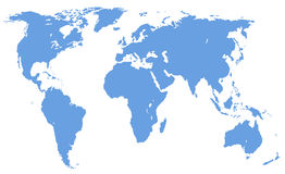 World map, isolated, clipping path Stock Images