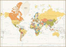 World Map isolated on retro white color background with labeling Stock Photos