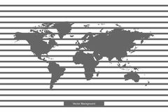 World map isolated on white background. Vector template for website, design, cover, annual reports, infographics. Lines on Blank b vector illustration