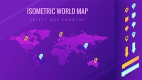 World map isometric vector illustration. The world map with pins, arrows and bubbles. Country select and allocation concept. Design for infographic template Stock Image