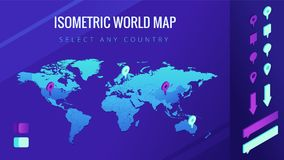 World map isometric vector illustration. The world map with pins, arrows and bubbles. Country select and allocation concept. Design for infographic template Royalty Free Stock Images