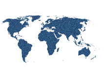 World map with jeans texture. Highly detailed map of the world, with continent shape filled with blue jeans texture, illustration Royalty Free Stock Photos