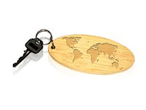 World-map keyring Royalty Free Stock Photo