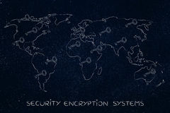 World map with keys, concept of encryption & cryptography Royalty Free Stock Image